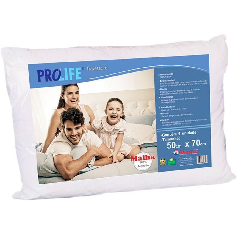 Travesseiro Pro Life Fibras De Poliéster Siliconadas Antialérgico 50x70cm - F.A. Colchões