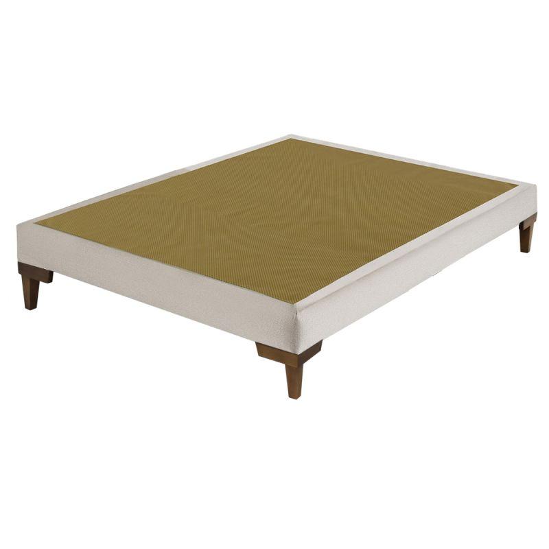 Box Para Colchão Casal Linho Bege 138x188x34cm - FA Colchões