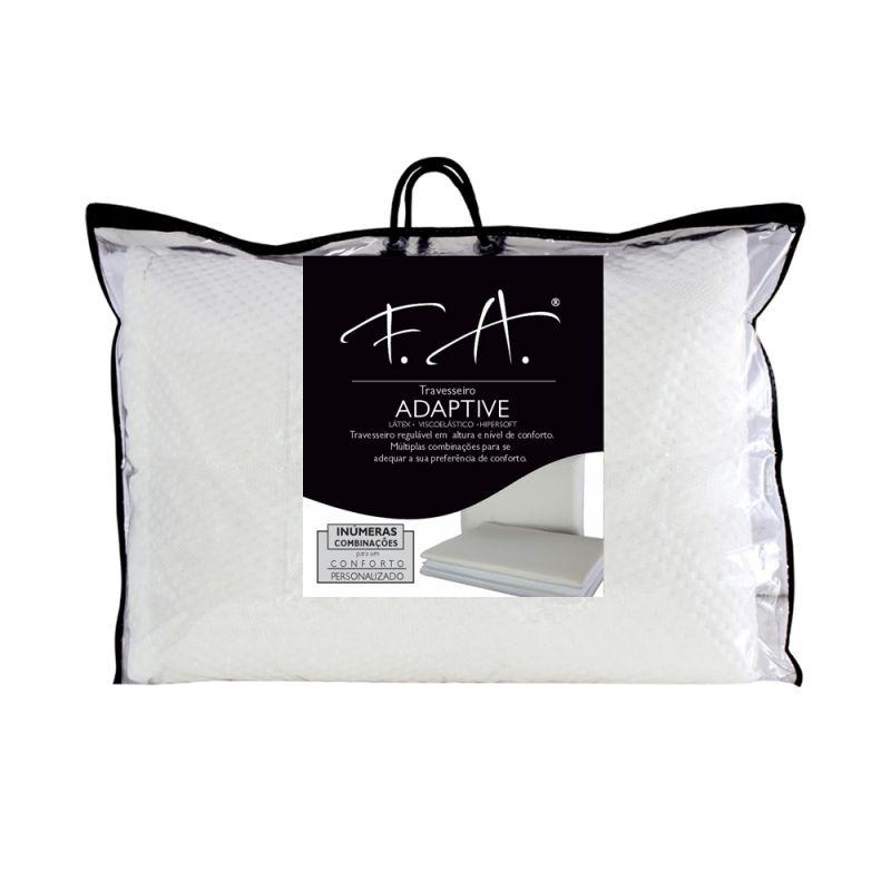 Travesseiro Premium Adaptive 50x70cm  3 Camadas Viscoelástica Látex Hipersoft - FA Colchões