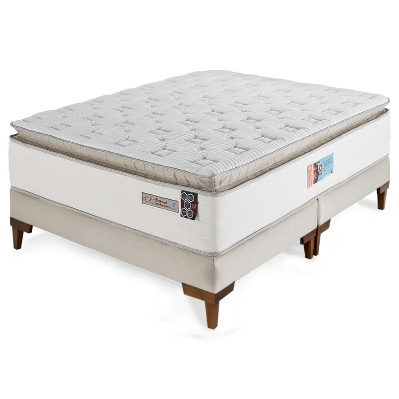 Cama Box Colchão King 193x203x70 Molas ensacadas com Pillow Top Freemont - FA Colchões