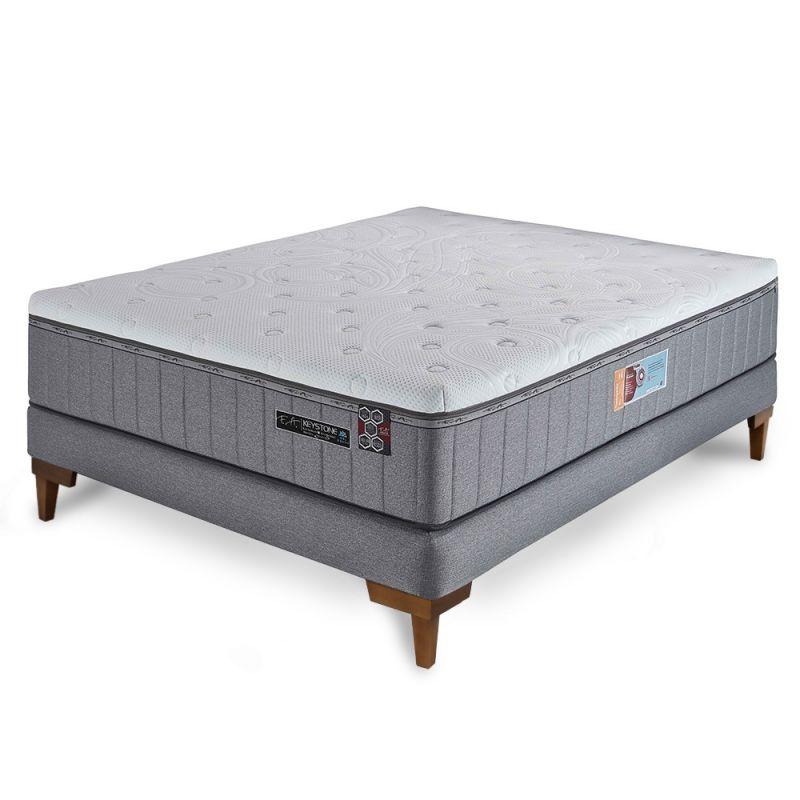 Cama Box Colchão Casal 138x188x70cm Molas Ensacadas Espumas HCell e Viscoelástica Keystone - FA Colchões
