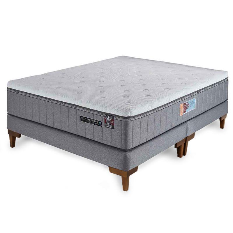 Cama Box Colchão King 193x203x70cm Molas Ensacadas Espumas HCell e Viscoelástica Keystone - FA Colchões