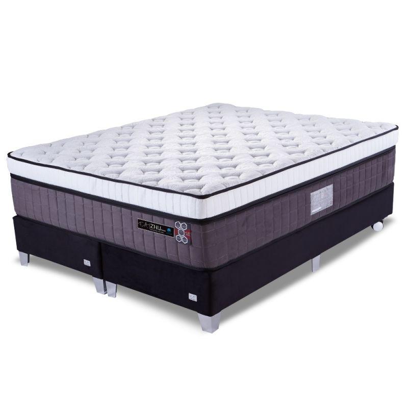 Cama Box Colchão King 193x203x75cm Molas Ensacadas Espuma Viscoelástica - Zhu Premium - FA Colchões