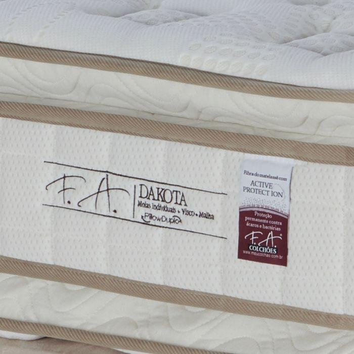 Cama Box Colchão Queen 158x198x70cm Molas Ensacadas com Pillow Duplo Dakota - FA Colchões