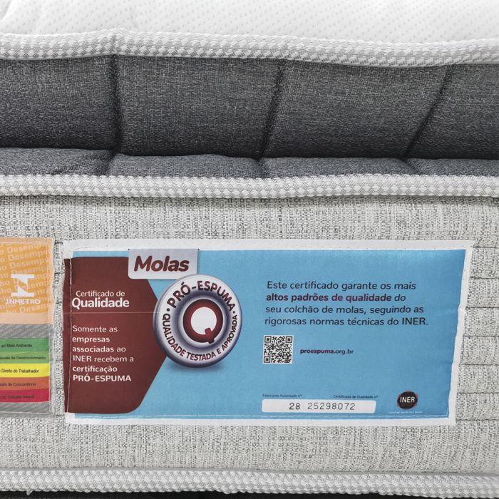 Colchão Casal 138x188x36cm Látex e SoftGel Molas Ensacadas Tecido Seaqual - Legend - FA Colchões