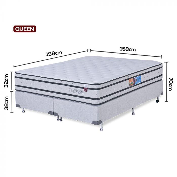Cama Box Colchão Queen 158x198x70cm Molas Ensacadas Pillow Duplo Alto Suporte - FA Colchões