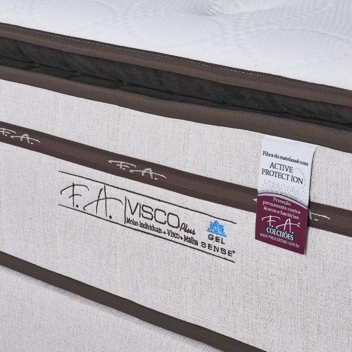 Cama Box Colchão Queen 158x198x70cm Molas Ensacadas Espuma Viscoelástica ViscoPlus - FA Colchões